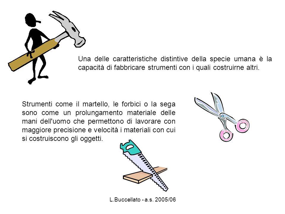 L.Buccellato - a.s. 2005/06 Una delle caratteristiche distintive della specie umana è la capacità di fabbricare strumenti con i quali costruirne altri