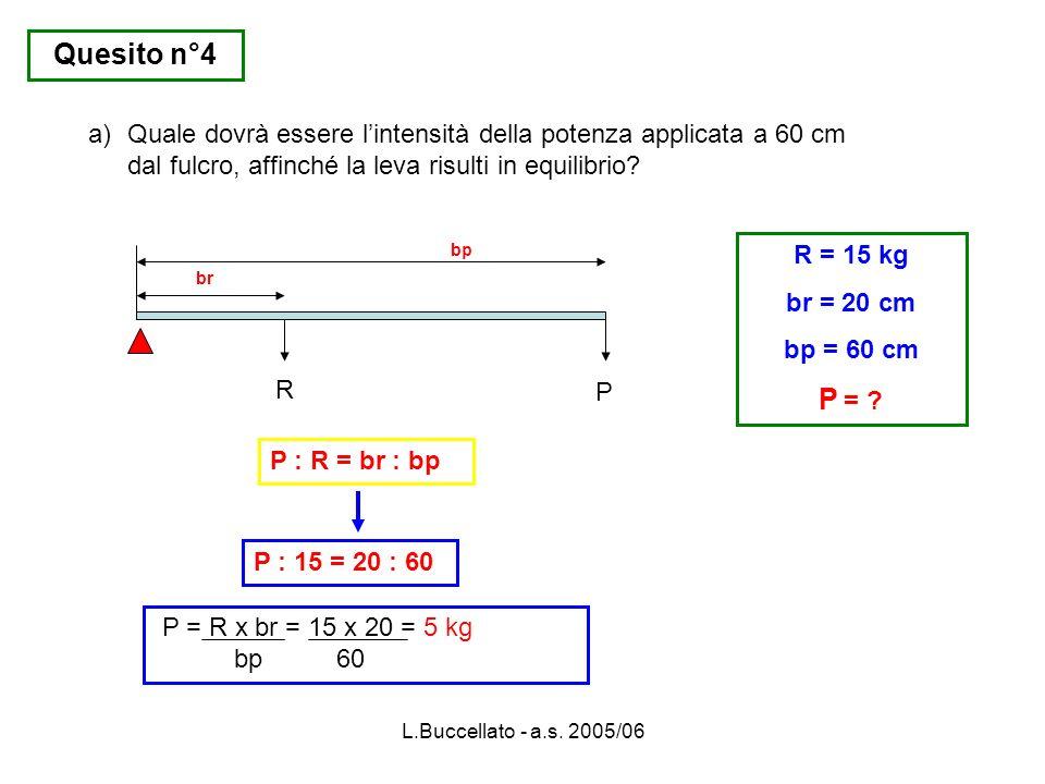 L.Buccellato - a.s. 2005/06 R P br bp R = 15 kg br = 20 cm bp = 60 cm P = ? P = R x br = 15 x 20 = 5 kg bp 60 P : R = br : bp P : 15 = 20 : 60 a)Quale