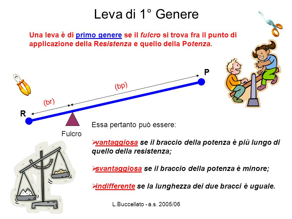 L.Buccellato - a.s.2005/06 R P br bp R = 15 kg br = 20 cm bp = 60 cm P = .