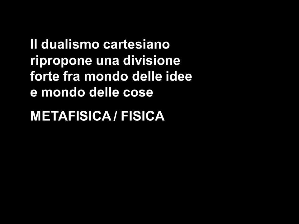 Il dualismo cartesiano ripropone una divisione forte fra mondo delle idee e mondo delle cose METAFISICA / FISICA