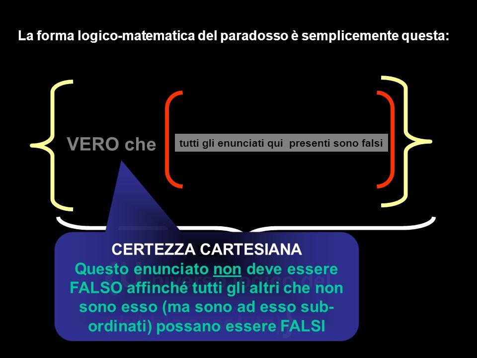 tutti gli enunciati qui presenti sono falsi VERO che La forma logico-matematica del paradosso è semplicemente questa: {U -niverso logico del (dubbio a