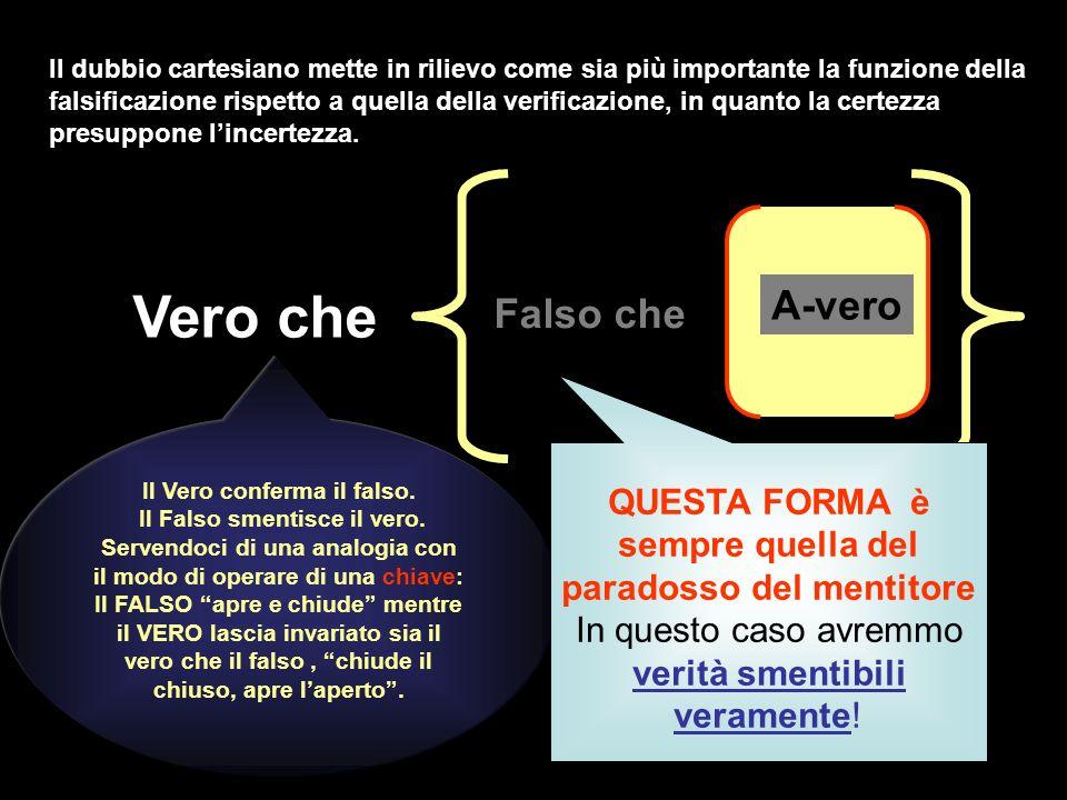 A-vero Falso che Vero che Il Vero conferma il falso. Il Falso smentisce il vero. Servendoci di una analogia con il modo di operare di una chiave: Il F