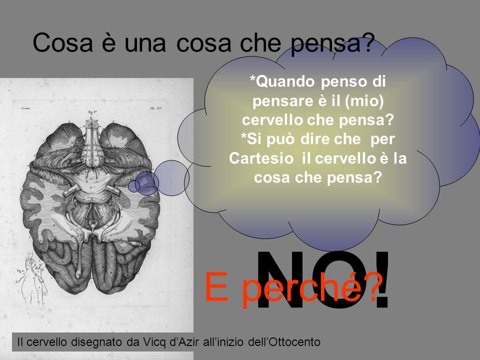 *Quando penso di pensare è il (mio) cervello che pensa? *Si può dire che per Cartesio il cervello è la cosa che pensa? NO! E perché? Cosa è una cosa c