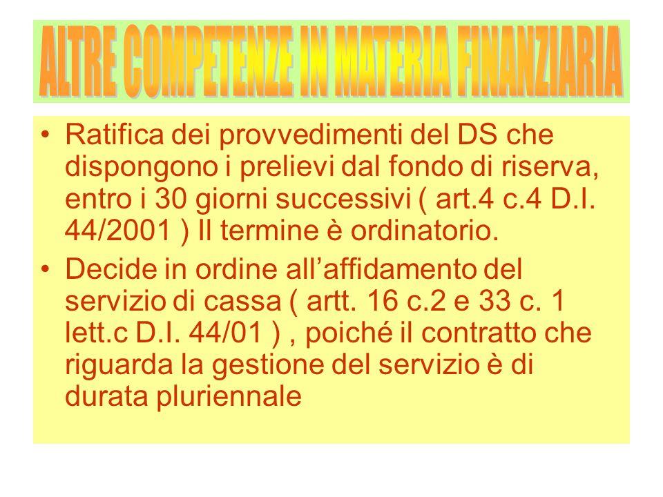 Ratifica dei provvedimenti del DS che dispongono i prelievi dal fondo di riserva, entro i 30 giorni successivi ( art.4 c.4 D.I. 44/2001 ) Il termine è