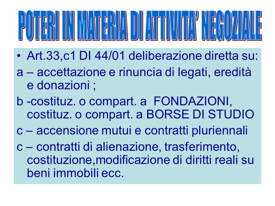 Art.33,c1 DI 44/01 deliberazione diretta su: a – accettazione e rinuncia di legati, eredità e donazioni ; b -costituz. o compart. a FONDAZIONI, costit