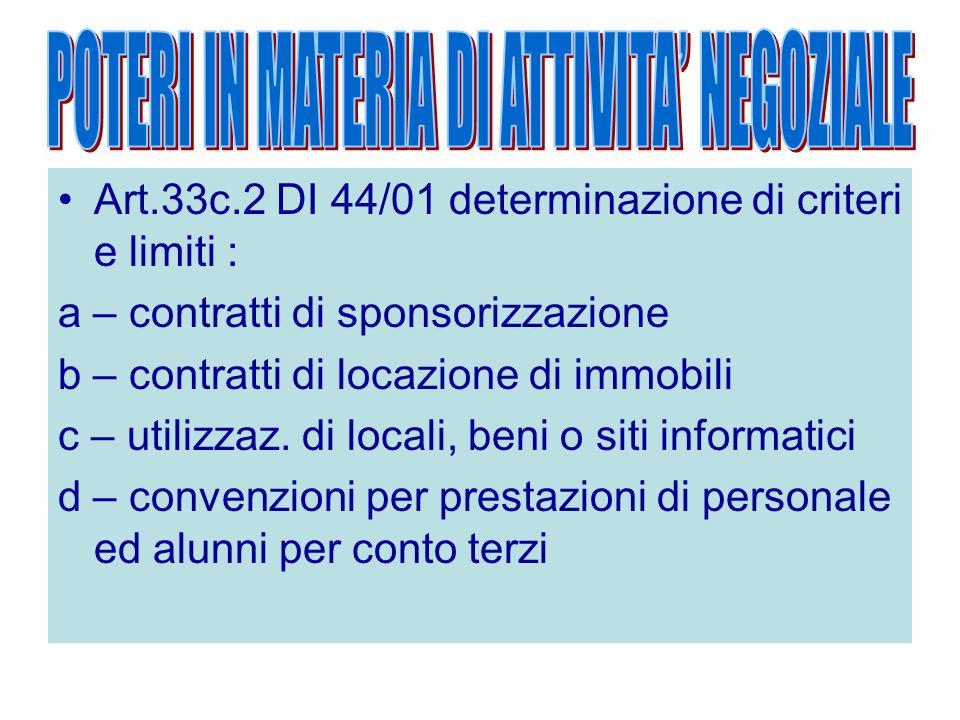 Art.33c.2 DI 44/01 determinazione di criteri e limiti : a – contratti di sponsorizzazione b – contratti di locazione di immobili c – utilizzaz. di loc