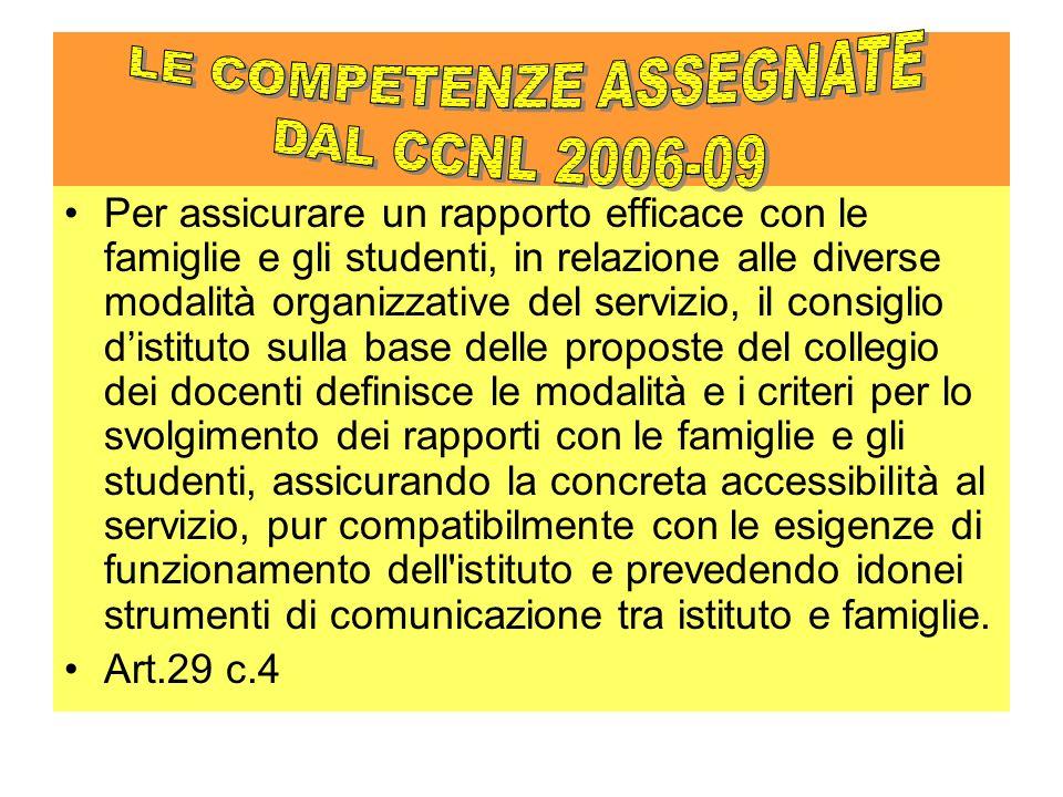Per assicurare un rapporto efficace con le famiglie e gli studenti, in relazione alle diverse modalità organizzative del servizio, il consiglio distit