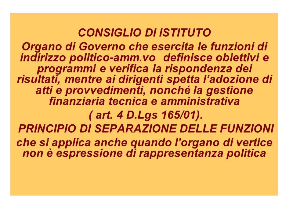 CONSIGLIO DI ISTITUTO Organo di Governo che esercita le funzioni di indirizzo politico-amm.vo definisce obiettivi e programmi e verifica la rispondenz