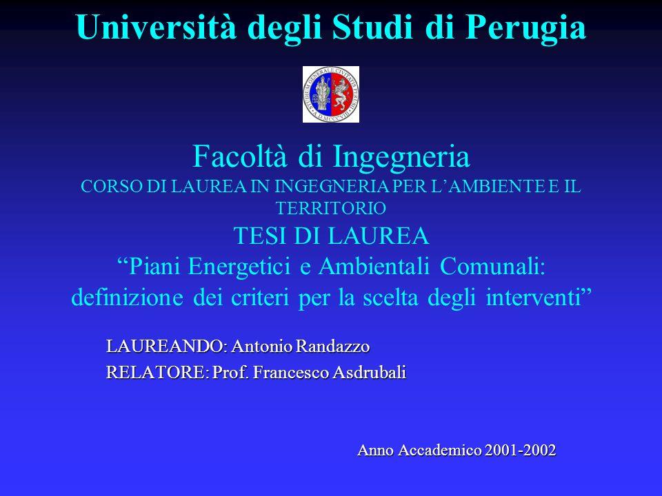 Università degli Studi di Perugia Facoltà di Ingegneria CORSO DI LAUREA IN INGEGNERIA PER LAMBIENTE E IL TERRITORIO TESI DI LAUREA Piani Energetici e