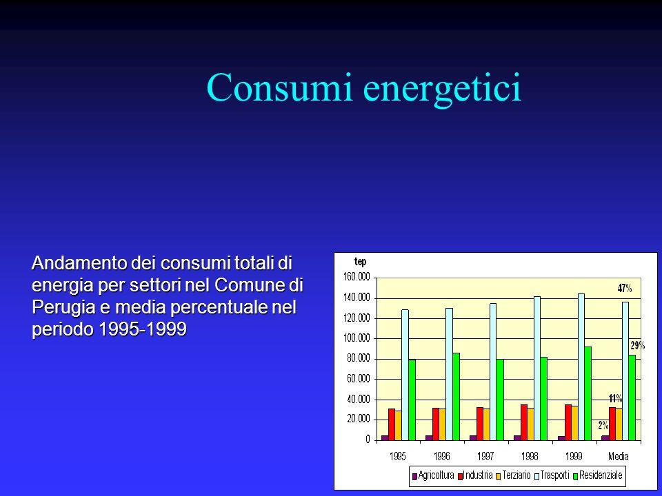 Consumi energetici Andamento dei consumi totali di energia per settori nel Comune di Perugia e media percentuale nel periodo 1995-1999