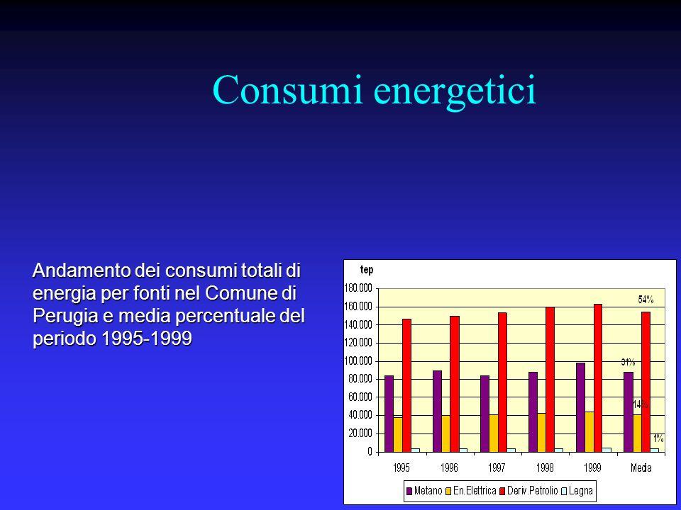Consumi energetici Andamento dei consumi totali di energia per fonti nel Comune di Perugia e media percentuale del periodo 1995-1999