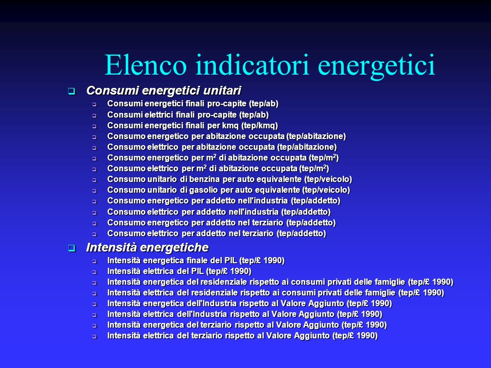 Elenco indicatori energetici Consumi energetici unitari Consumi energetici unitari Consumi energetici finali pro-capite (tep/ab) Consumi energetici fi