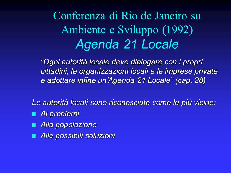 Conferenza di Rio de Janeiro su Ambiente e Sviluppo (1992) Agenda 21 Locale Ogni autorità locale deve dialogare con i propri cittadini, le organizzazioni locali e le imprese private e adottare infine unAgenda 21 Locale (cap.