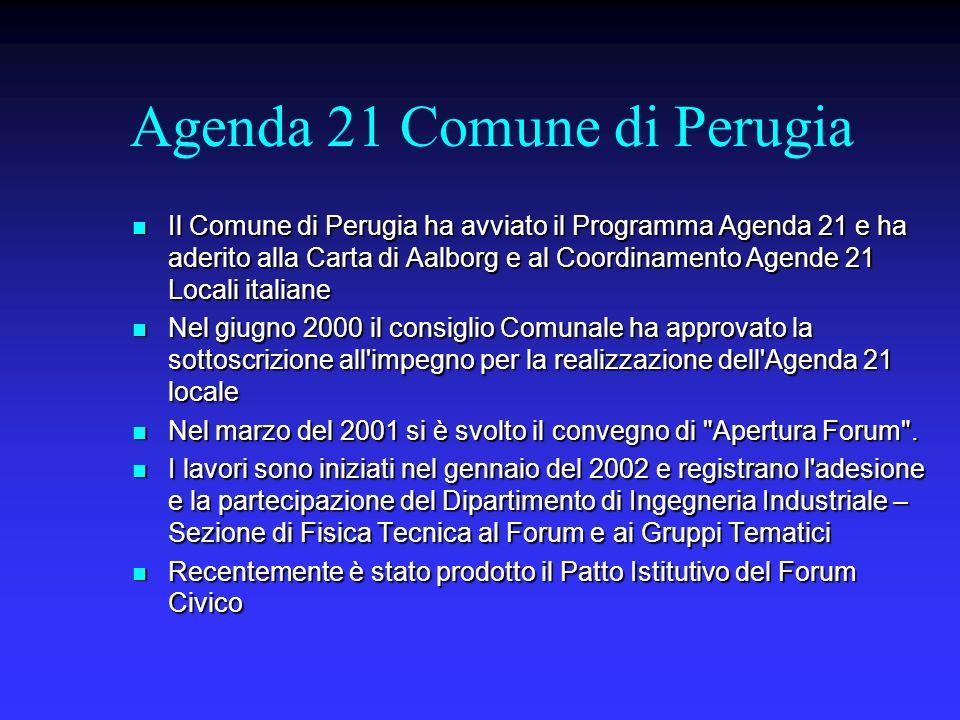 Agenda 21 Comune di Perugia Il Comune di Perugia ha avviato il Programma Agenda 21 e ha aderito alla Carta di Aalborg e al Coordinamento Agende 21 Loc