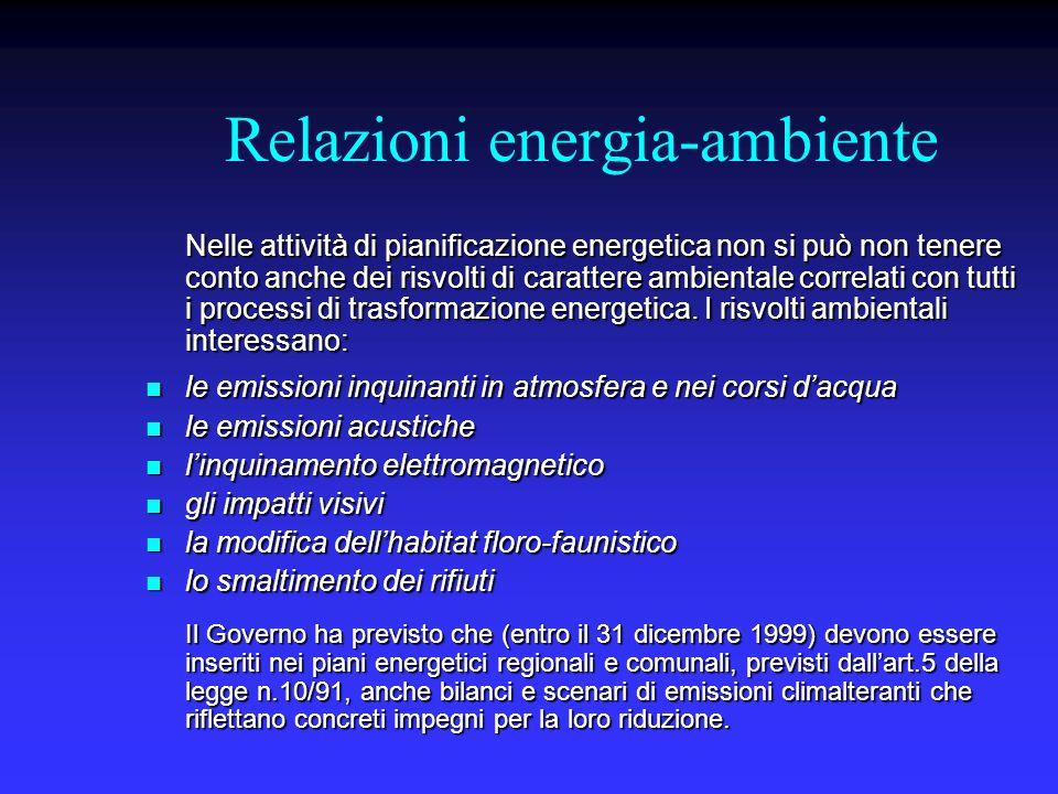 Relazioni energia-ambiente Nelle attività di pianificazione energetica non si può non tenere conto anche dei risvolti di carattere ambientale correlati con tutti i processi di trasformazione energetica.