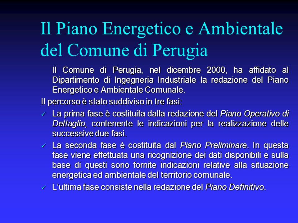 Il Piano Energetico e Ambientale del Comune di Perugia Il Comune di Perugia, nel dicembre 2000, ha affidato al Dipartimento di Ingegneria Industriale