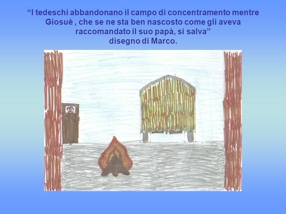 I tedeschi abbandonano il campo di concentramento mentre Giosuè, che se ne sta ben nascosto come gli aveva raccomandato il suo papà, si salva disegno