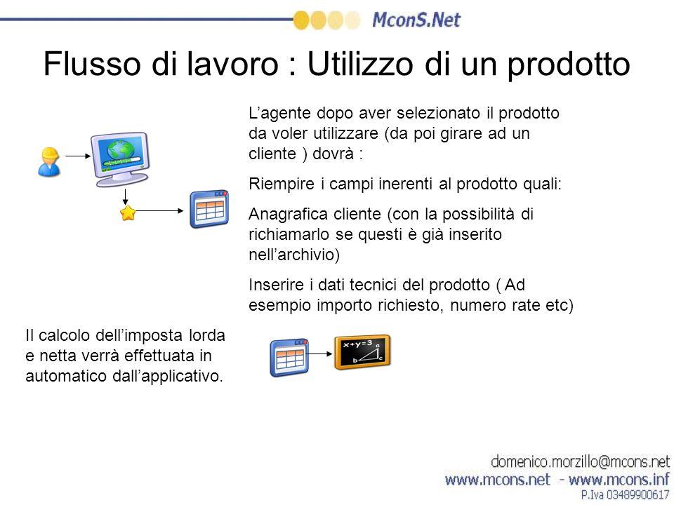 Flusso di lavoro : Utilizzo di un prodotto Lagente dopo aver selezionato il prodotto da voler utilizzare (da poi girare ad un cliente ) dovrà : Riempi