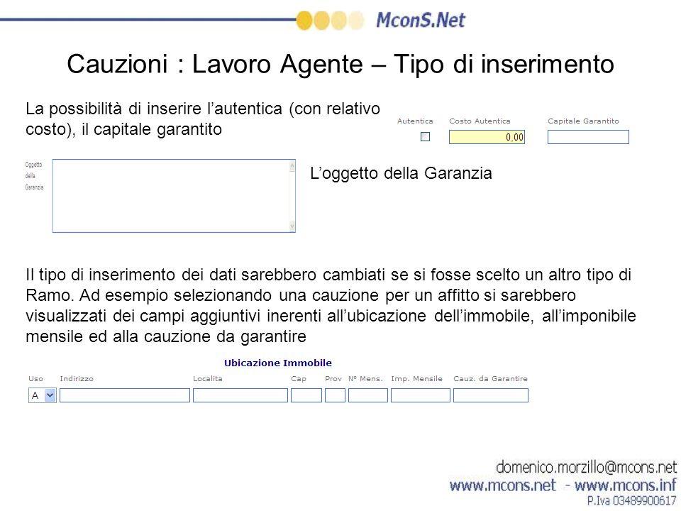 Cauzioni : Lavoro Agente – Tipo di inserimento La possibilità di inserire lautentica (con relativo costo), il capitale garantito Loggetto della Garanz