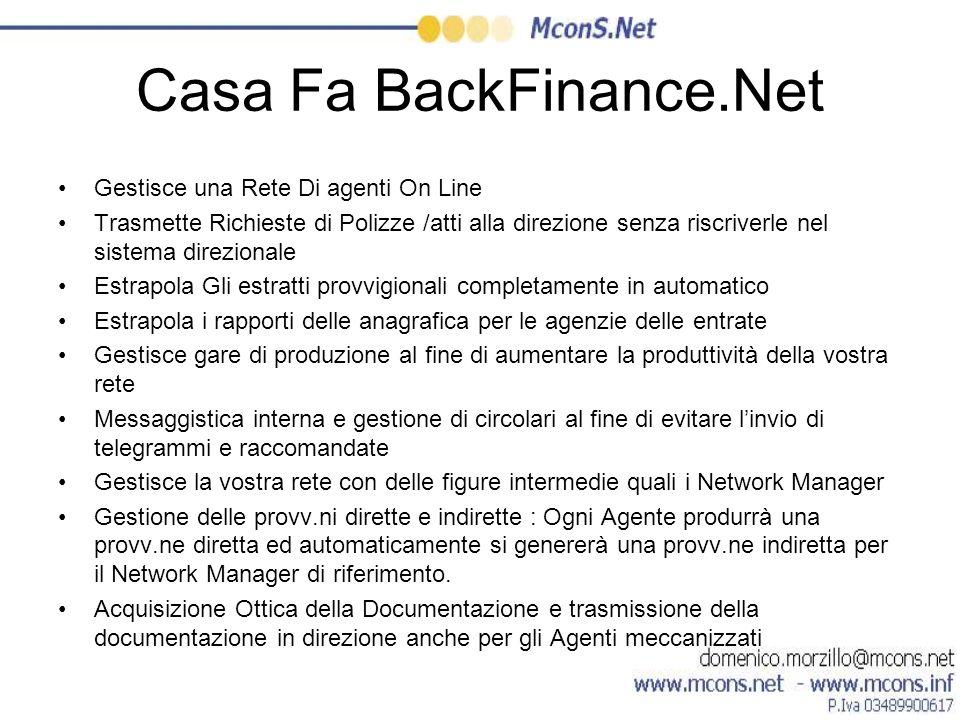 Casa Fa BackFinance.Net Gestisce una Rete Di agenti On Line Trasmette Richieste di Polizze /atti alla direzione senza riscriverle nel sistema direzion