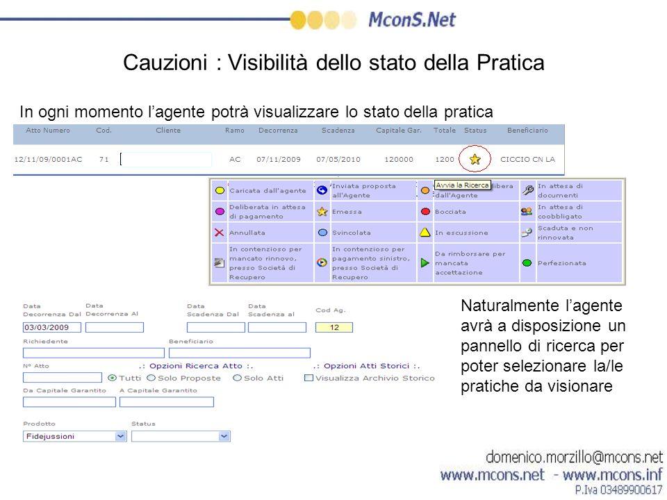 Cauzioni : Visibilità dello stato della Pratica In ogni momento lagente potrà visualizzare lo stato della pratica Naturalmente lagente avrà a disposiz