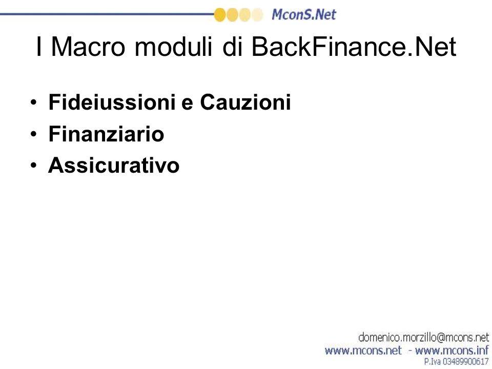 I Macro moduli di BackFinance.Net Fideiussioni e Cauzioni Finanziario Assicurativo