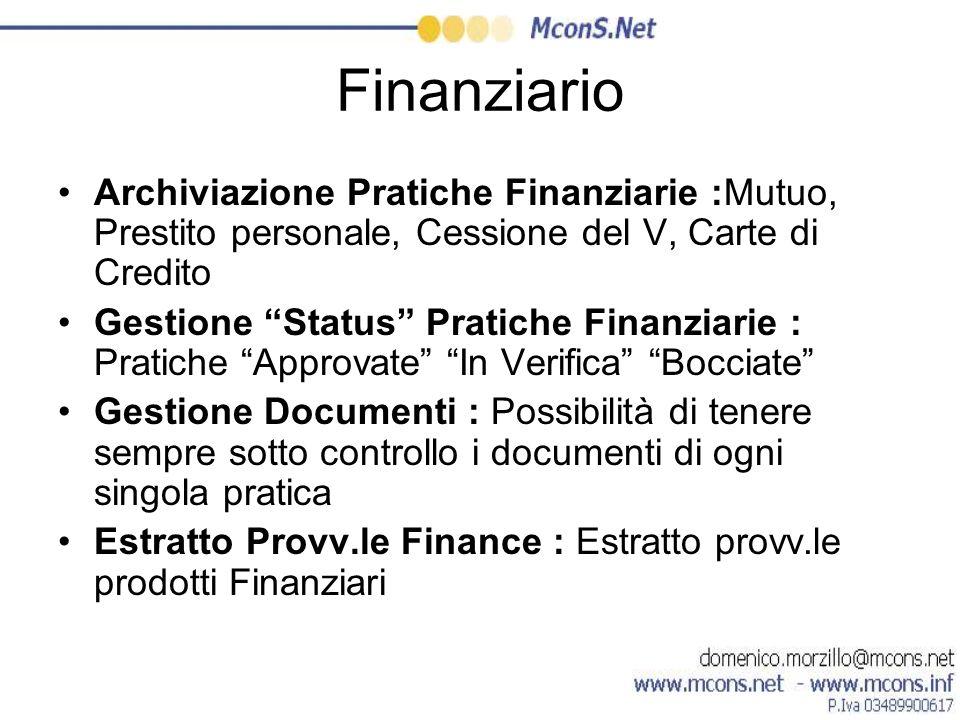 Finanziario Archiviazione Pratiche Finanziarie :Mutuo, Prestito personale, Cessione del V, Carte di Credito Gestione Status Pratiche Finanziarie : Pra