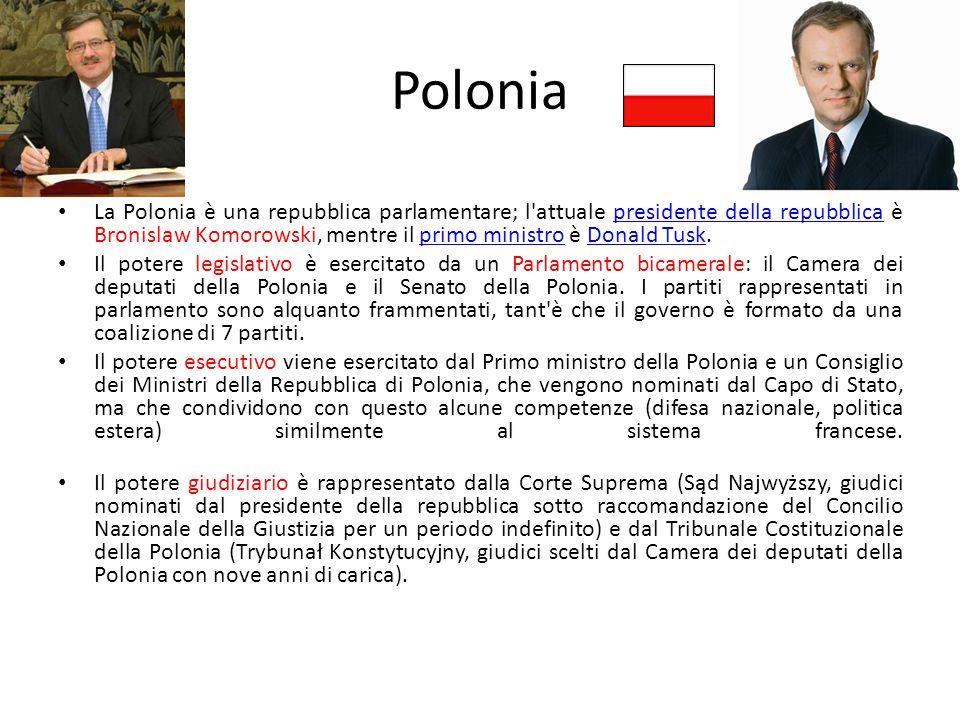 Polonia La Polonia è una repubblica parlamentare; l'attuale presidente della repubblica è Bronislaw Komorowski, mentre il primo ministro è Donald Tusk