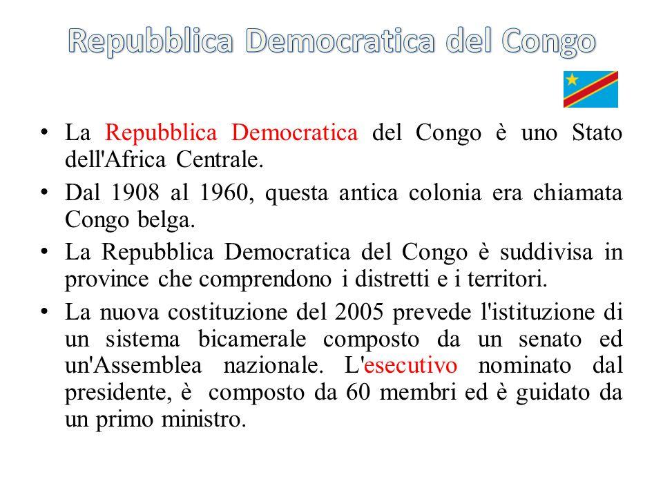 La Repubblica Democratica del Congo è uno Stato dell'Africa Centrale. Dal 1908 al 1960, questa antica colonia era chiamata Congo belga. La Repubblica
