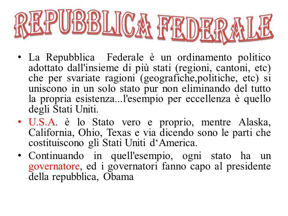 La Repubblica Federale è un ordinamento politico adottato dall'insieme di più stati (regioni, cantoni, etc) che per svariate ragioni (geografiche,poli