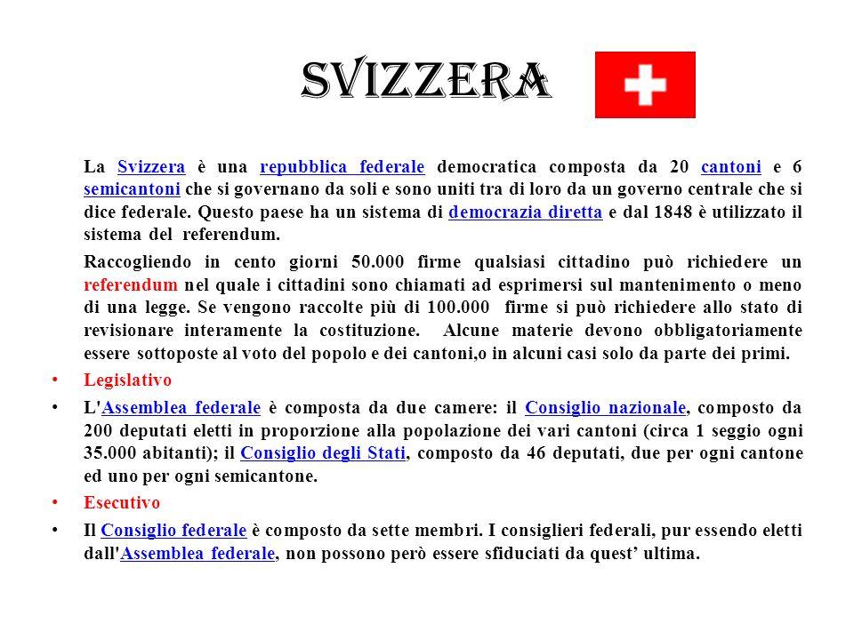 Svizzera La Svizzera è una repubblica federale democratica composta da 20 cantoni e 6 semicantoni che si governano da soli e sono uniti tra di loro da