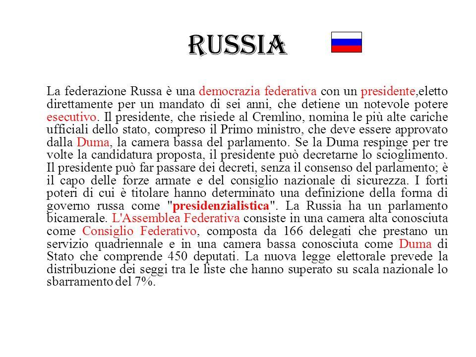 Russia La federazione Russa è una democrazia federativa con un presidente,eletto direttamente per un mandato di sei anni, che detiene un notevole pote