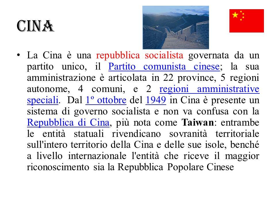Cina La Cina è una repubblica socialista governata da un partito unico, il Partito comunista cinese; la sua amministrazione è articolata in 22 provinc