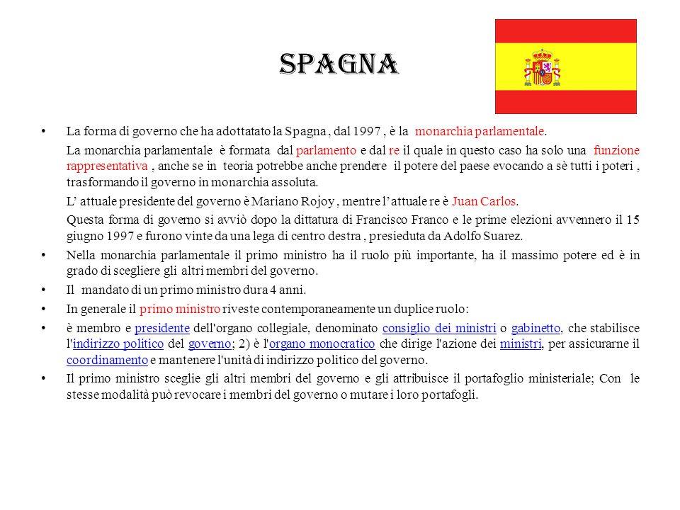 Spagna La forma di governo che ha adottatato la Spagna, dal 1997, è la monarchia parlamentale. La monarchia parlamentale è formata dal parlamento e da