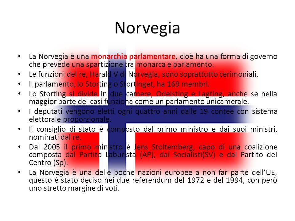 Norvegia La Norvegia è una monarchia parlamentare, cioè ha una forma di governo che prevede una spartizione tra monarca e parlamento. Le funzioni del