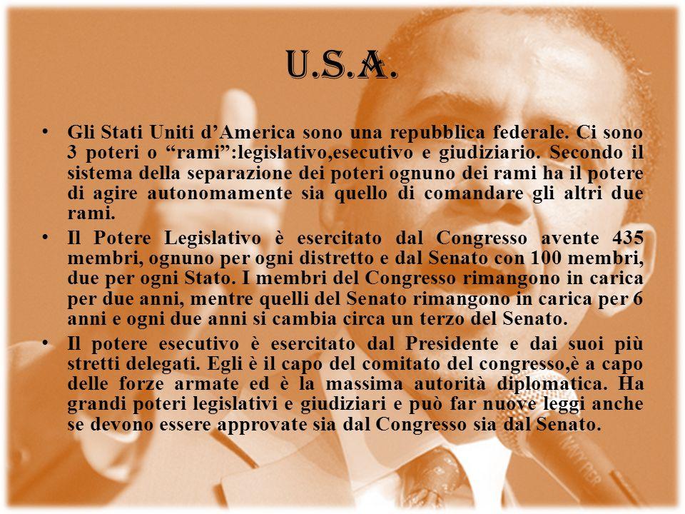 U.S.A. Gli Stati Uniti dAmerica sono una repubblica federale. Ci sono 3 poteri o rami:legislativo,esecutivo e giudiziario. Secondo il sistema della se