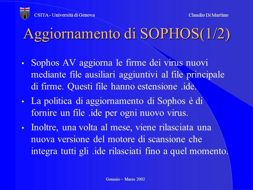 Gennaio – Marzo 2002 CSITA - Università di GenovaClaudio Di Martino Aggiornamento di SOPHOS(1/2) Sophos AV aggiorna le firme dei virus nuovi mediante