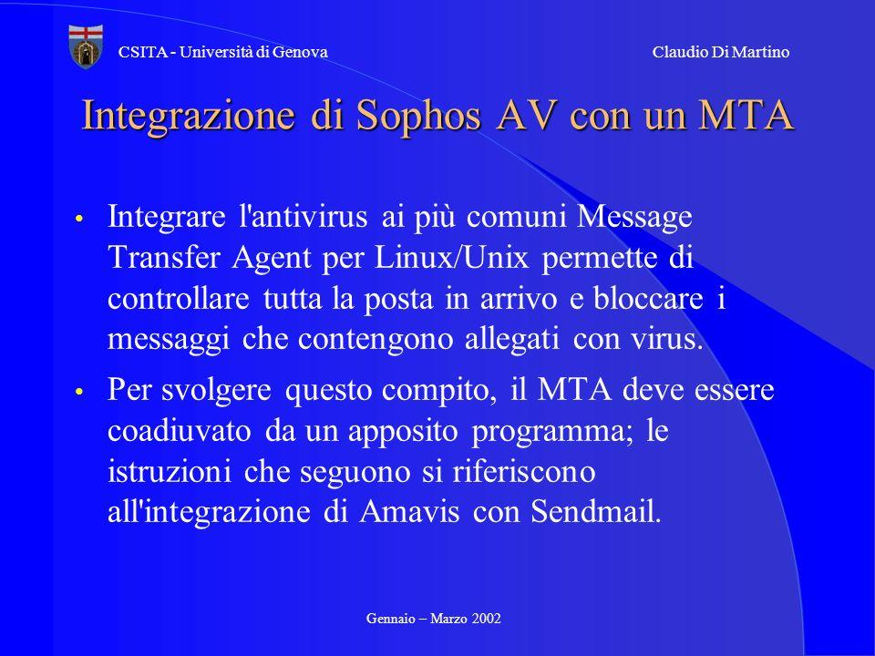 Gennaio – Marzo 2002 CSITA - Università di GenovaClaudio Di Martino Integrazione di Sophos AV con un MTA Integrare l'antivirus ai più comuni Message T