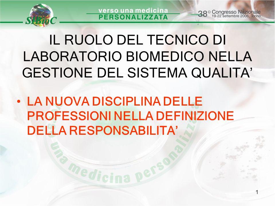 1 IL RUOLO DEL TECNICO DI LABORATORIO BIOMEDICO NELLA GESTIONE DEL SISTEMA QUALITA LA NUOVA DISCIPLINA DELLE PROFESSIONI NELLA DEFINIZIONE DELLA RESPO
