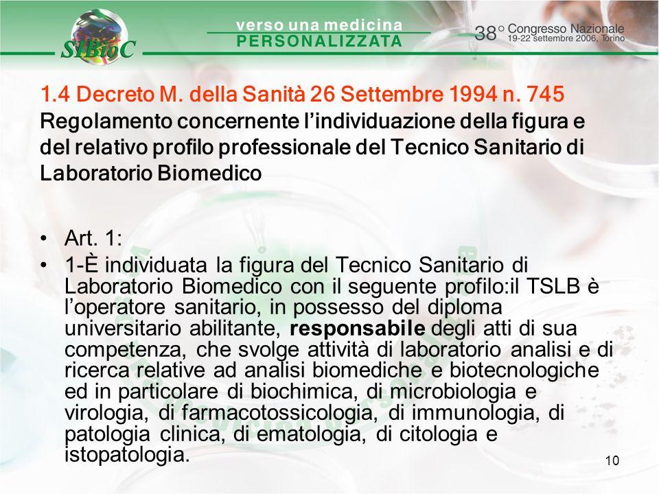 10 1.4 Decreto M. della Sanità 26 Settembre 1994 n. 745 Regolamento concernente lindividuazione della figura e del relativo profilo professionale del
