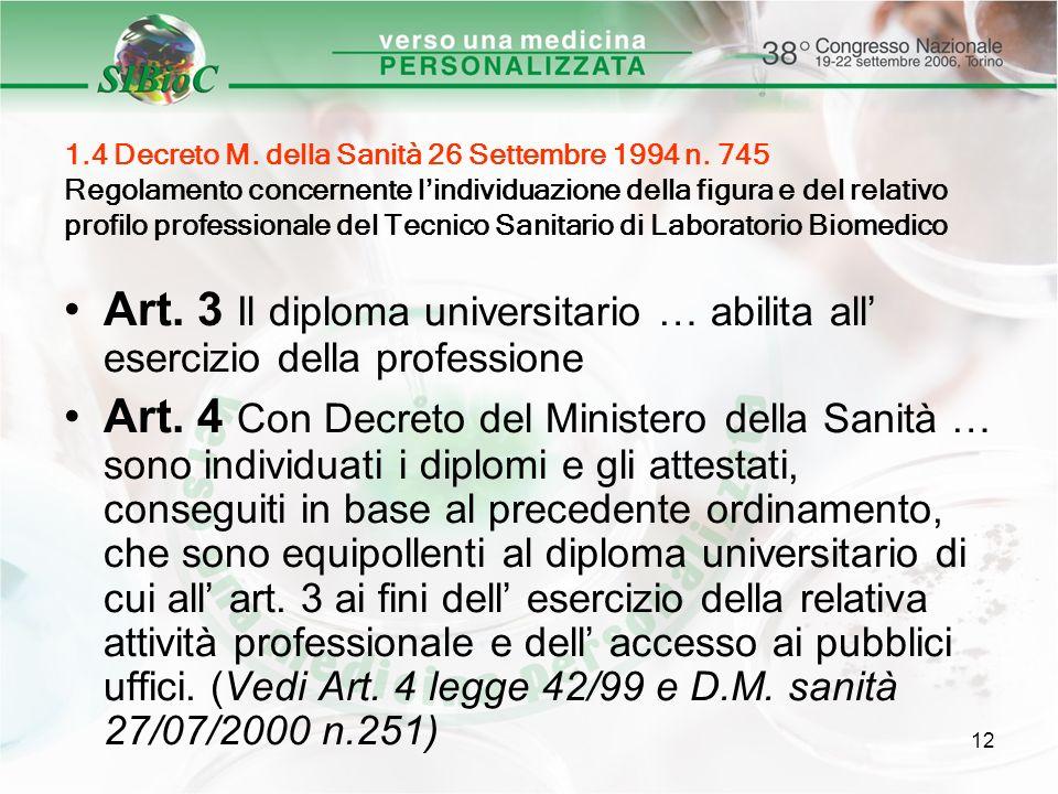 12 1.4 Decreto M. della Sanità 26 Settembre 1994 n. 745 Regolamento concernente lindividuazione della figura e del relativo profilo professionale del
