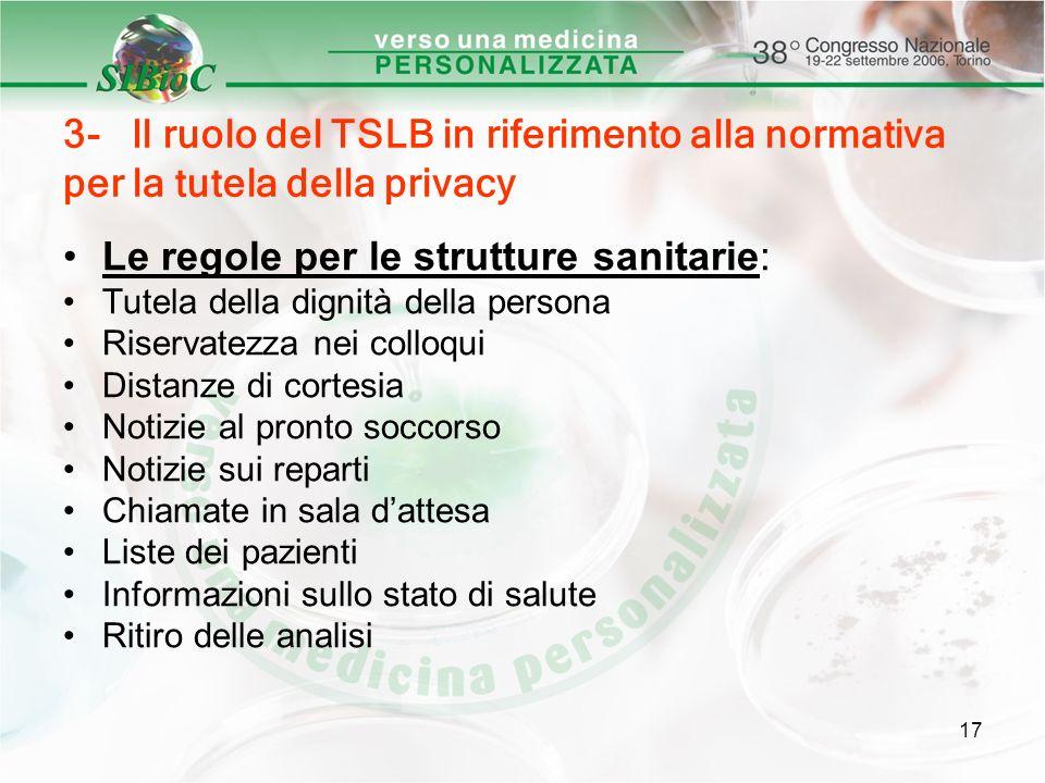 17 3- Il ruolo del TSLB in riferimento alla normativa per la tutela della privacy Le regole per le strutture sanitarie: Tutela della dignità della per