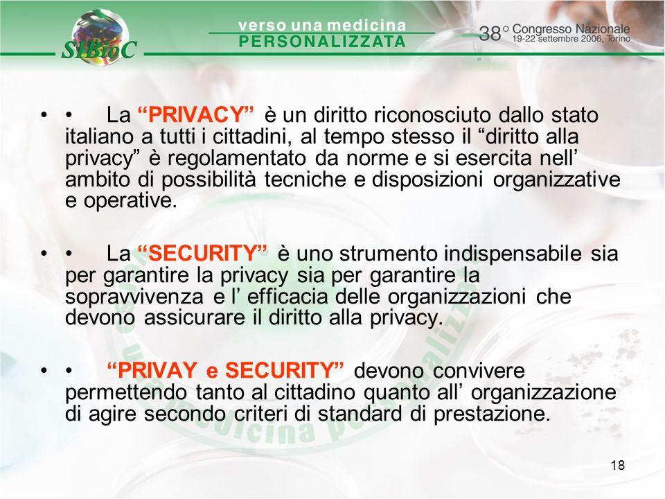18 La PRIVACY è un diritto riconosciuto dallo stato italiano a tutti i cittadini, al tempo stesso il diritto alla privacy è regolamentato da norme e s