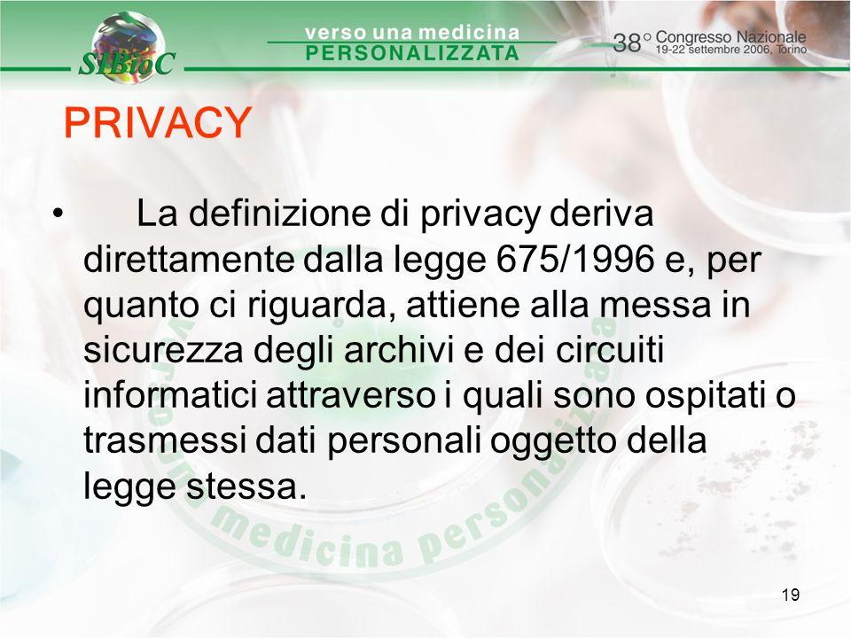19 PRIVACY La definizione di privacy deriva direttamente dalla legge 675/1996 e, per quanto ci riguarda, attiene alla messa in sicurezza degli archivi