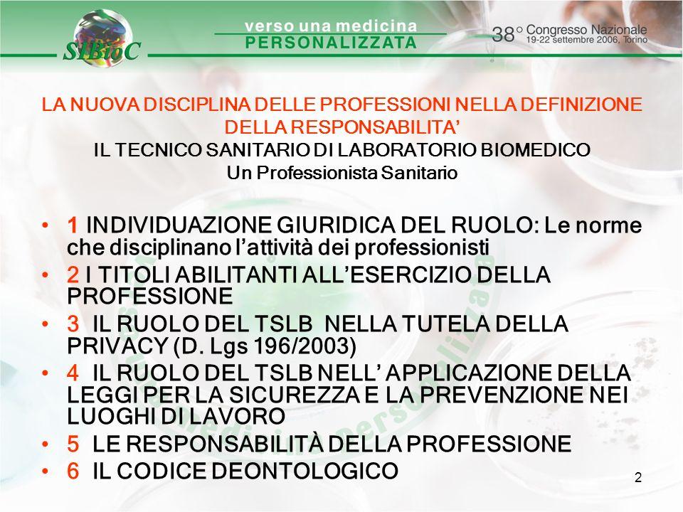2 LA NUOVA DISCIPLINA DELLE PROFESSIONI NELLA DEFINIZIONE DELLA RESPONSABILITA IL TECNICO SANITARIO DI LABORATORIO BIOMEDICO Un Professionista Sanitar