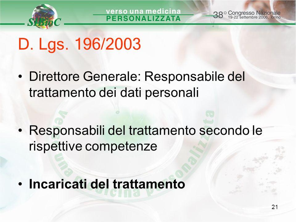 21 D. Lgs. 196/2003 Direttore Generale: Responsabile del trattamento dei dati personali Responsabili del trattamento secondo le rispettive competenze