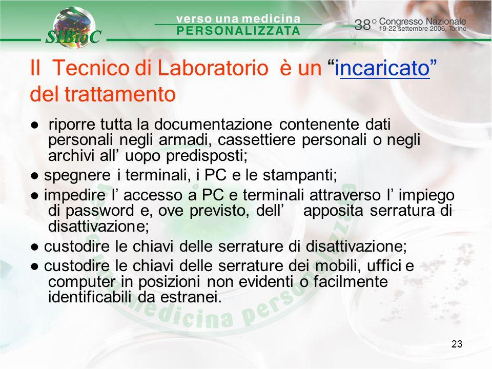 23 Il Tecnico di Laboratorio è un incaricato del trattamento riporre tutta la documentazione contenente dati personali negli armadi, cassettiere perso