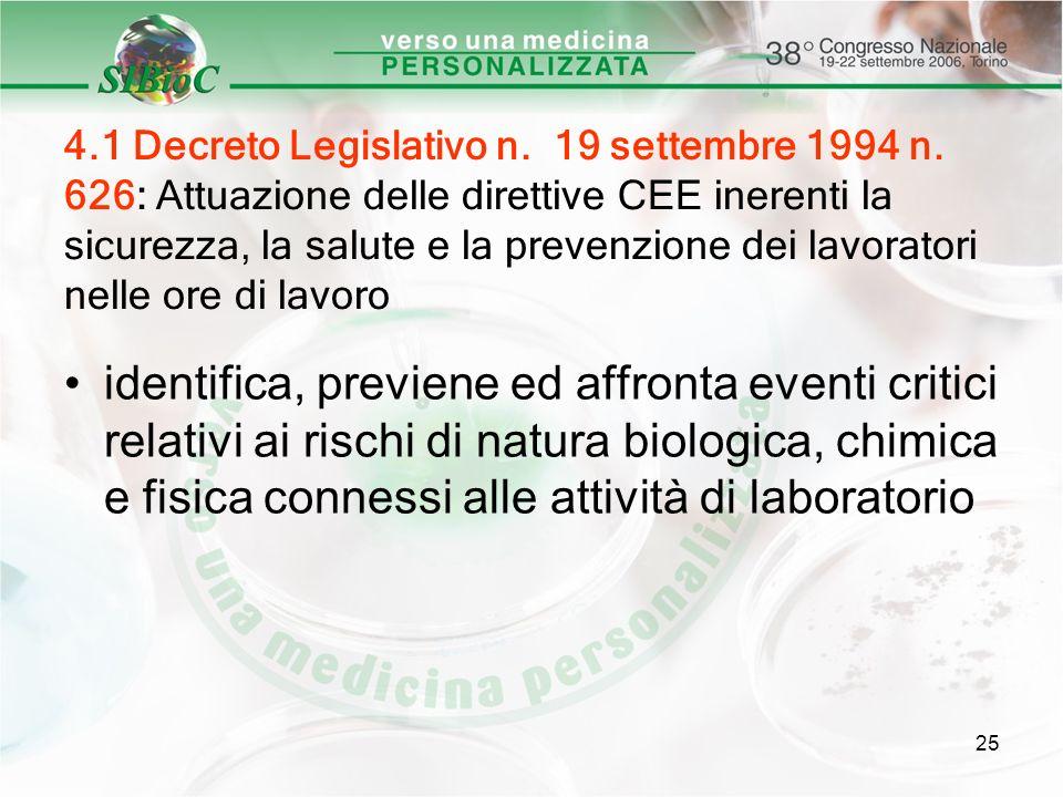 25 4.1 Decreto Legislativo n. 19 settembre 1994 n. 626: Attuazione delle direttive CEE inerenti la sicurezza, la salute e la prevenzione dei lavorator