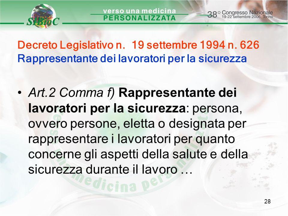 28 Decreto Legislativo n. 19 settembre 1994 n. 626 Rappresentante dei lavoratori per la sicurezza Art.2 Comma f) Rappresentante dei lavoratori per la