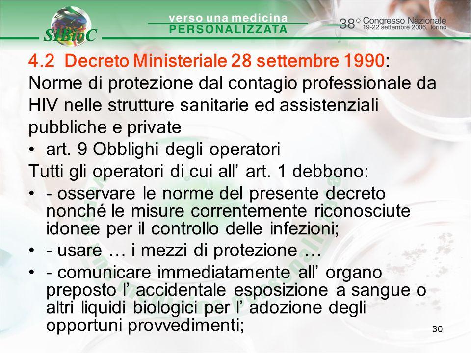 30 4.2 Decreto Ministeriale 28 settembre 1990: Norme di protezione dal contagio professionale da HIV nelle strutture sanitarie ed assistenziali pubbli